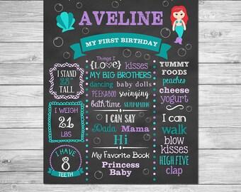 Mermaid First Birthday Chalkboard of Favorite Things Poster Printable, First Birthday Chalkboard Sign - Mermaid