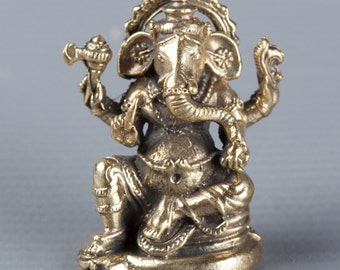"Ganesha Statue - Southeast Asia Thailand Brass Seated Ganesha - Remover of Obstacles - 3.5cm/1.25"" Tall"