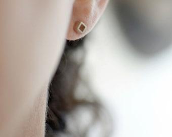 Open Square Studs, 4mm, Geometric Earrings, Minimalist Earrings, Tiny Studs, Minimalist Jewelry, Sterling Silver, Matte or Shiny Finish