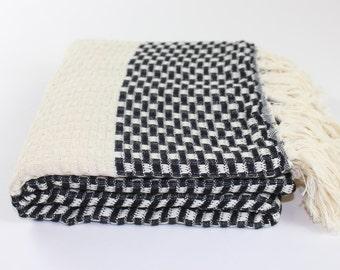 Turkish Towel, Fouta, Peshtemal, Checkerboard Pattern Black Best Quality