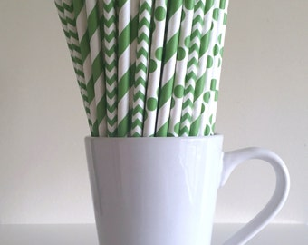 Green Paper Straws Kelly Green Striped, Chevron, Polka Dot Party Supplies Party Decor Bar Cart Cake Pop Sticks  Party Graduation
