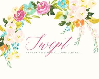Watercolour Flower Hand Painted Clip Art - Swept