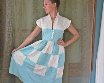 1940s Turquoise White Eyelet Shirt Dress Patchwork Dress Vintage Shirtwaist 40s Midi Dress Light Blue Dress 40s Cotton Dress Day Dress