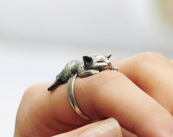 "Unique Smiling Cat Ring, Cat Lover Gift, Silver Cat Ring, Crazy Cat Lady, Sleeping Cat Ring, ""A Cat Napping In The Afternoon"" by Iona Silver"