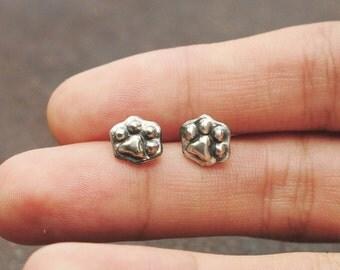 """Cat Paw Earrings,Sterling Silver Earrings """"Kitten's Foot Pads"""" by Ionasilver"""