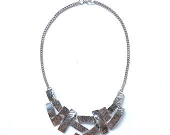 Silver bib necklace statement, big bold chunky necklace