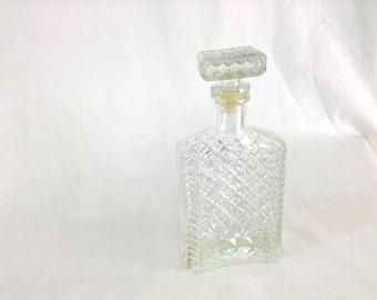 Vintage Cut Glass Flask-shaped Decanter with Diamond Pattern & Square Stopper