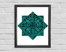 Moroccan teal star, eclectic mandala  art print, boho wall  printable art, Alhambra, instant download, hand drawing