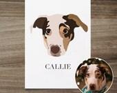 Custom Dog Portrait, Custom Dog Illustration, Custom Pet Portrait, Vectorized Dog Portrait, Personalized Pet Art Gift, Gift For Dog Lover
