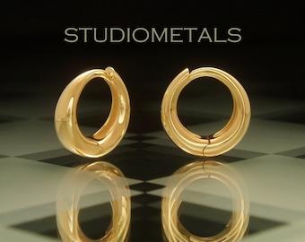 Solid 18K Gold Hoop Earrings, Hinged Hoop Earrings, Thick Gold Hoops, Wide Gold Hoops, Solid 18K Gold Earrings, Heavy Gold Hoops, E585
