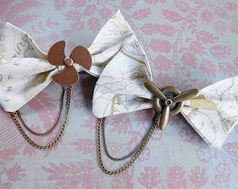 Steampunk Airship Propeller Hair Bow Pilot Map Accessory