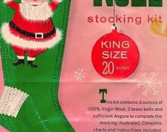 Vintage Knit Christmas Santa Stocking COPY of the Pattern 60's 70's Noel Santa