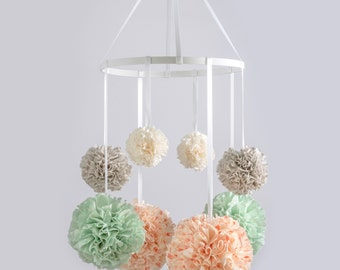 Baby Mobile, Nursery Mobile,Crib Mobile, Hanging Pom Poms, Nursery Decor, Pom Pom Mobile, Baby Girl Nursery, Crib Mobile, Custom Nursery