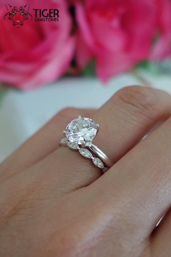 2 Ctw Art Deco Ring Round Solitaire Wedding Set By TigerGemstones