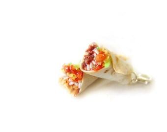 Burrito Charm, Miniature Food Jewelry, Beef Burrito, Polymer Clay Burrito, Flour Tortilla Taco Jewelry, Burrito Pendant