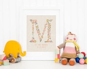 Custom Initial and 'M' Name Monogram Nursery Art Print, Personalized Baby Nursery Decor, Baby Room,  Giclee, Fine Art, Wall Art, Not Framed