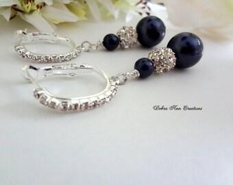 Swarovski Navy Blue Pearl Earrings Dark Blue Wedding Bridal Bridesmaid Jewelry Blue Bridesmaid Mother of the Bride Groom Navy Blue Earrings