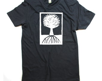Mens Wood Cut Tree T-shirt - ORGANIC - Mens Charcoal Grey Tree Shirt - In Small, Medium, Large, XL, 2XL