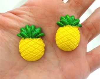 6 pcs - Kawaii Yellow Pineapple Resin Flatback Cabochon - 26mm - Kitsch - Tropical - Fruit Cabs - Decoden