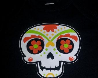 Dia de los muertos Sugar Skull - Glow-in-the-dark baby onesie