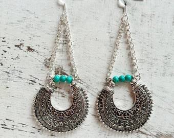 Ethnic earring miao tibetan silver dangle earring, natural gemstone turquoise, onyx, labradorite boho