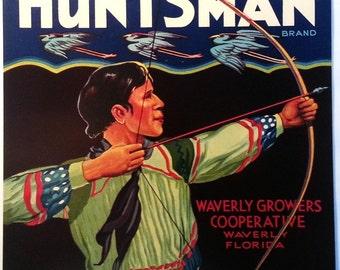 Huntsman Vintage Florida Citrus Crate Label Waverly Growers Cooperative Waverly, Florida