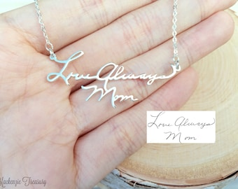 SALE Handwriting Necklace - signature necklace - autograph necklace - Personalize necklace - Name Necklace - Handmade Jewelry