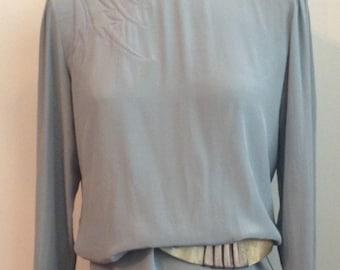 Vintage 1980's Sophisticated Silk Sheath Dress with Appliqué
