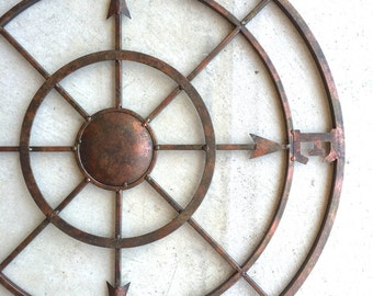 "42"" Compass, Metal Compass, Nautical Decor, Metal Compass Wall Art, Compass Wall Art, Nautical Compass, Nautical Wall Decor, Rustic, Compass"