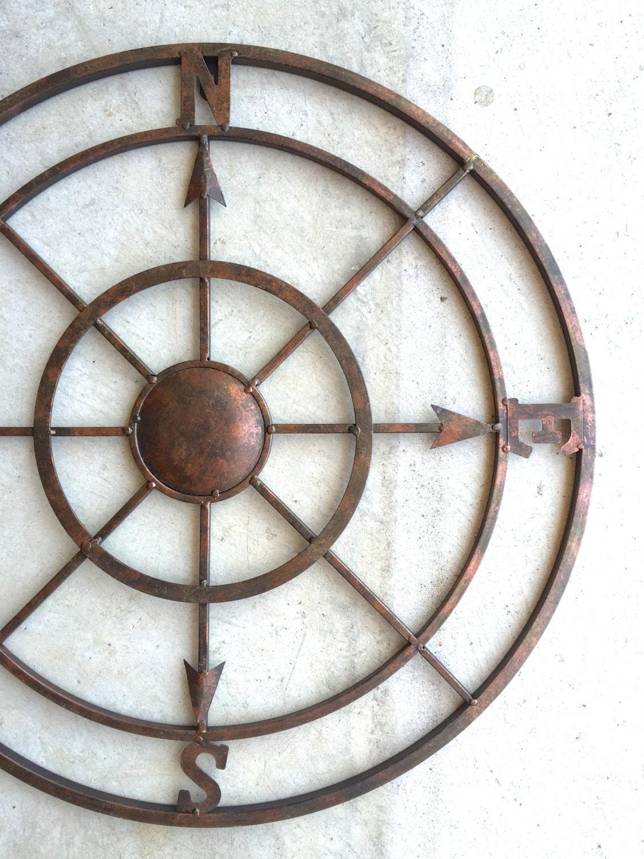 42 compass metal compass nautical decor metal compass. Black Bedroom Furniture Sets. Home Design Ideas