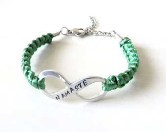 NAMASTE Infinity Hand Stamped Bracelet Yoga Serenity Calming Bracelet You Choose Your Cord Color(s)