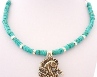 Native American pony collar necklace with turquoise and bright silver