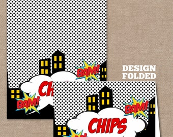 INSTANT DOWNLOAD-Superhero food Labels, Food Labels, Buffet Labels, Tent Cards, Place Cards, Superheroes, Superhero (#262)