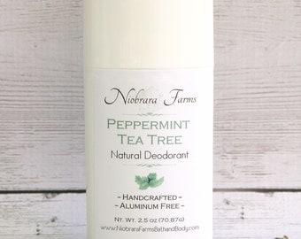 All Natural Deodorant - Natural Peppermint Tea Tree Deodorant Stick - Aluminum Free Deodorant - Handmade Deoderant - 2.5 oz. Stick Deodorant