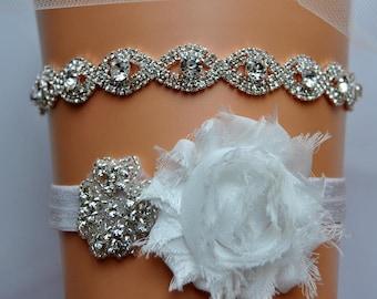 Bridal Garter Set, Wedding Garter Set Ivory, White Shabby Chic Rhinestone Garter, Keepsake Garter, Toss Garter