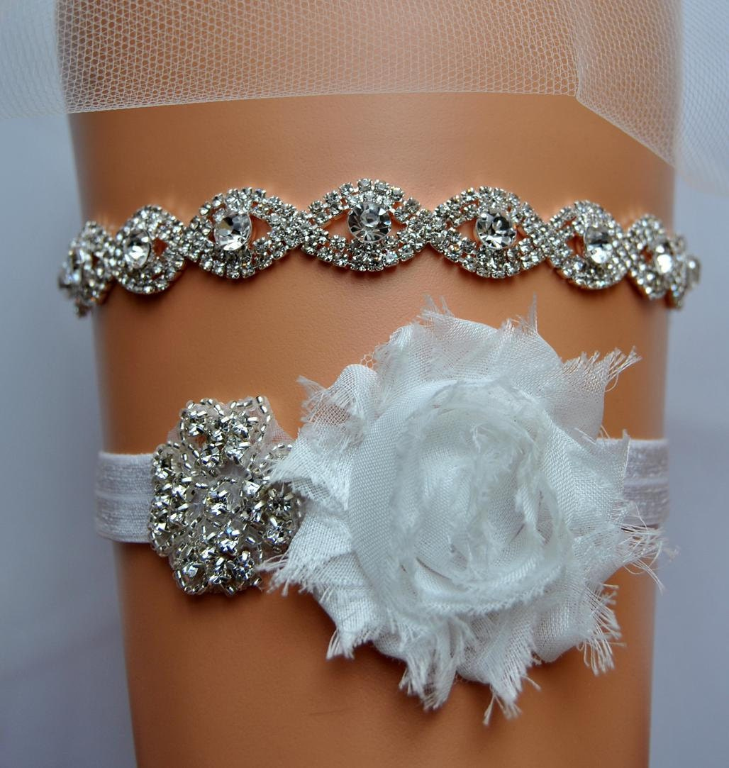 Crystal Wedding Garter: Crystal Bridal Garter Set Wedding Garter Set Ivory Ivory