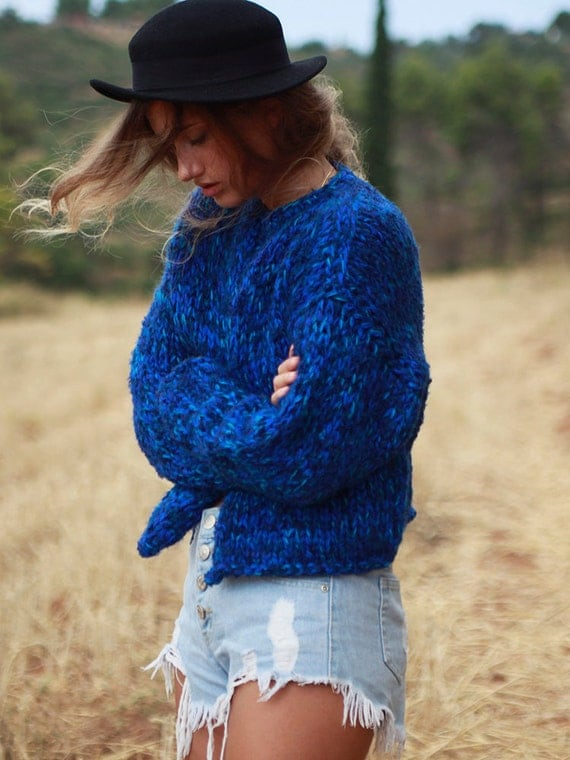 Blue hand knit cardigan royal blue cardigan chunky knit