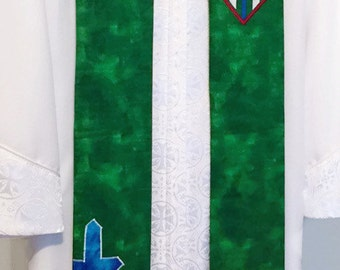 SALE - Green Clergy Stole w/ IHS Symbol, Pitcher, Basin, Towel and Cross