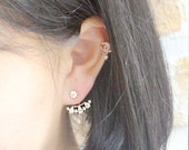 Korea drama fashion ear jacket with gold and silver platted / silver 925 post / drop shaped