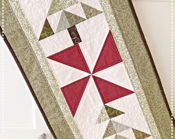 Christmas Tree Table Runner Quilt Pattern PDF Wall Hanging Fall Fast and Easy Scrappy French Country Primitive Winter Holiday