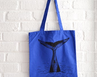 Blue tote bag cotton bag cotton tote bag with whale tail print