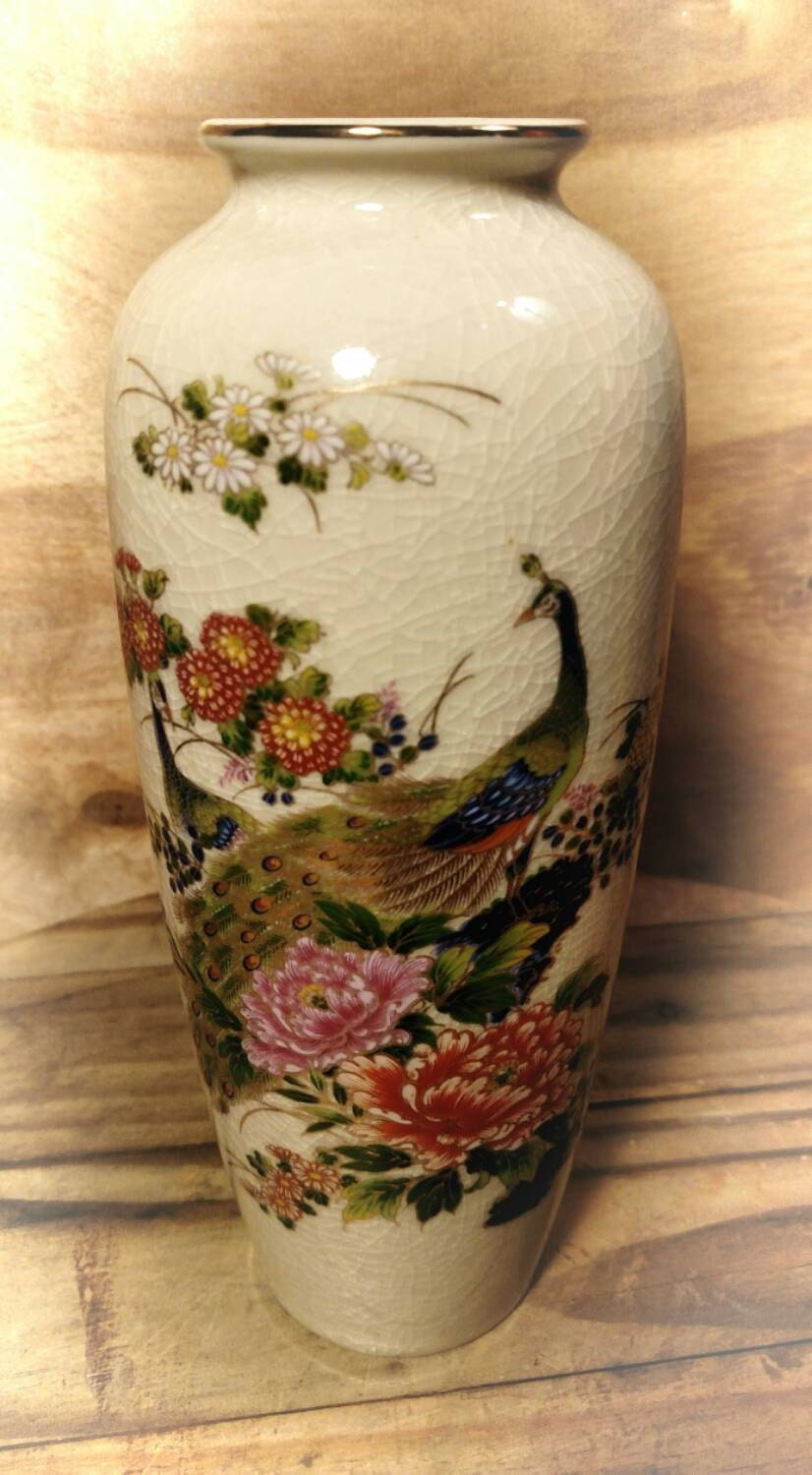 Collectible Japanese Vase Crackle Design Peacock Flower Vase