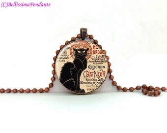 Le Chat Noir, Theophile Steinlen, 1 in. 25.4 mm necklace or keychain