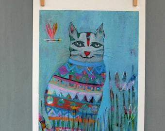 Cat, Art Print, Wall Decor, Kids Art, Nursery Decor, Wall Art, Colorful Art, Quirky Art, Art Gift, Cat Art, Choose from 3 different sizes