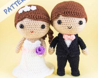 Bride and Groom Amigurumi Pattern -- DIY wedding decoration, wedding gift