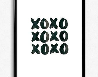 XOXO Art Print, Downloadable Art Print, Downloadable Wallpapers, Digital Art, Watercolour, Instant Download