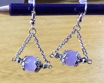 Light purple trapeze earrings