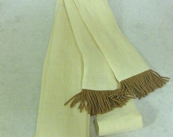 Butter/ Pale Yellow Linen Sash w/Dark Gold Fringe for Pirate, Ren Faire, Cosplay
