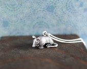 Armadillo Sterling Silver Necklace; gift for her, jewellery, Texas, animal, 3D, American, wildlife, charm, 3D, summer, june