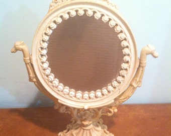 Vintage Iron Art JM9 Art Nouveau Cast Iron Swivel Vanity Dresser Mirror White Painted